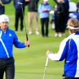 AUCHTERARDER, SCOTLAND - SEPTEMBER 26:  Graeme McDowell (L) of Europe celebrates victory with Victor Dubuisson of Europe on the 16th green during the Afternoon Foursomes of the 2014 Ryder Cup on the PGA Centenary course at the Gleneagles Hotel on September 26, 2014 in Auchterarder, Scotland.  (Photo by Harry How/Getty Images)